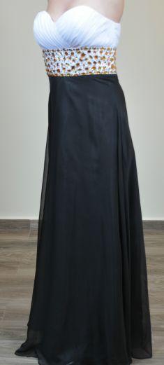Rochie de seara neagra cu alb