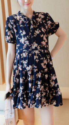 Rochie/bluza bleumarin cu flori