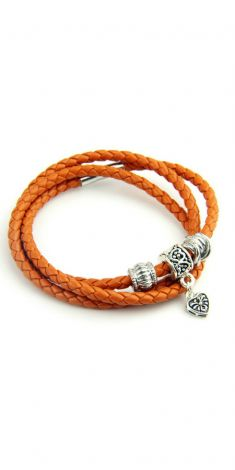 Bratara/colier din piele portocalie cu decoratiuni din metal