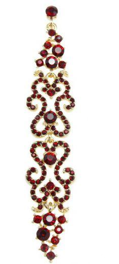 Cercei lungi aurii cu strasuri rosii