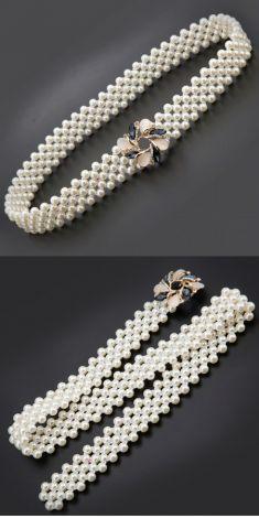 Curea cu perle-catarama floare