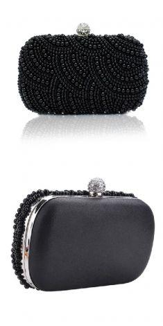 Geanta de seara neagra cu perle