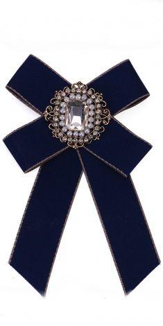 Papion albastru/Brosa albastra cu strasuri, margele si cristal