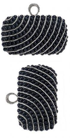 Plic negru cu perlute negre