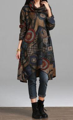 Rochie gri de iarna cu imprimeuri geometrice