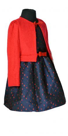 Rochita bleumarin cu pulover rosu
