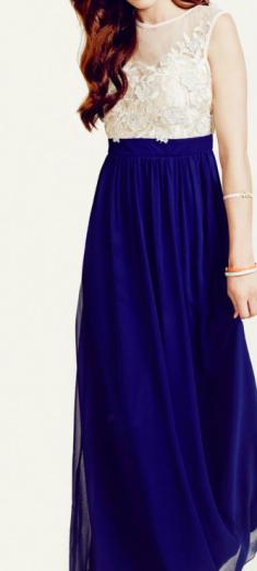 Rochie de seara bleumarin cu corsaj crem, brodat