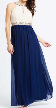 Rochie de seara crem cu bleumarin