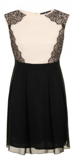 Rochie de seara crem cu dantela neagra