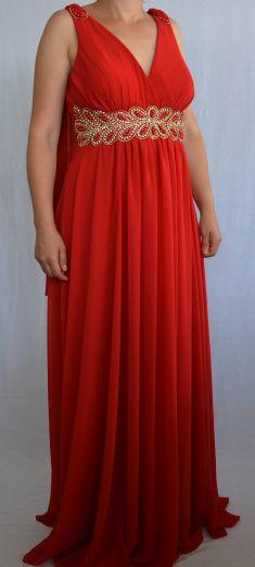 Rochie de seara rosie cu strasuri si margele