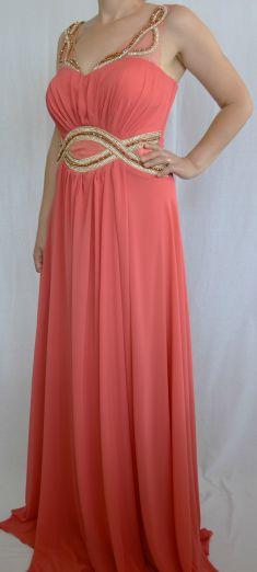 Rochie de seara roz cu strasuri si margele