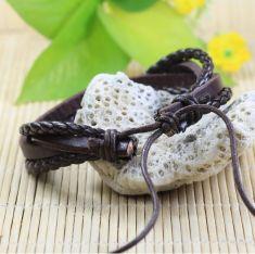 Bratara piele maro cu fire textile maro