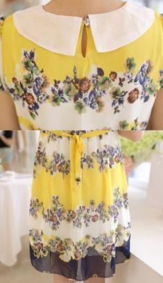 Rochie de gravide galbena cu flori, semi-transparenta