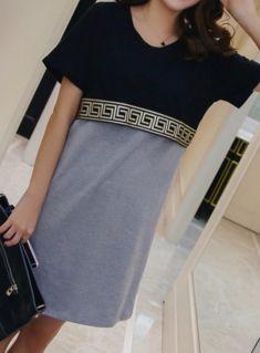 Rochie gri cu negru