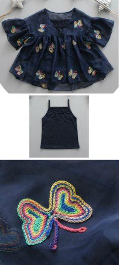 Bluza bleumarin cu fluturi colorati brodati