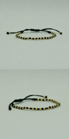 Bratara aur galben 18k cu fir textil