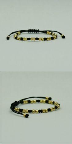 Bratara din fir textil negru cu aur galben