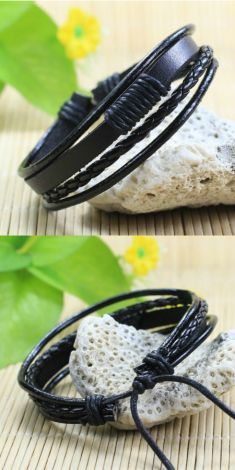 Bratara din piele neagra, fire textile negre