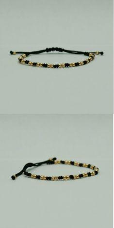Bratara fir textil negru cu aur roz 18k