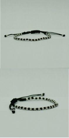 Bratara material textil negru cu aur alb
