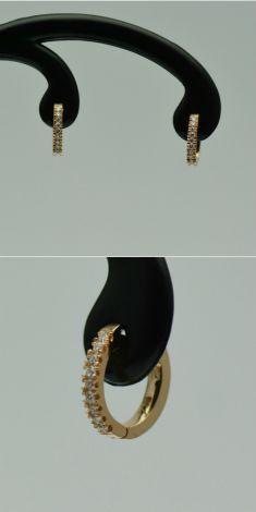 Cercei aur roz cu diamante rotunde