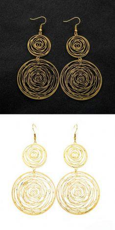 Cercei aurii cu cercuri
