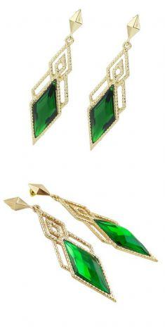Cercei aurii cu cristale verzi