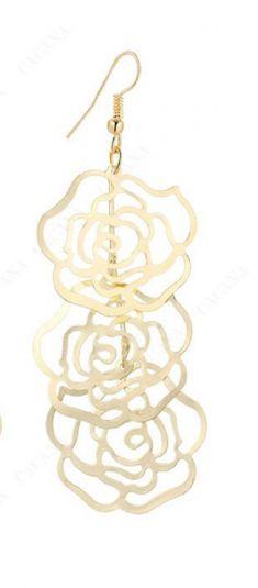 Cercei aurii, model trandafiri