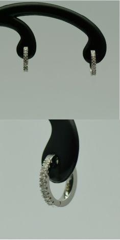 Cercei din aur alb cu diamante rotunde