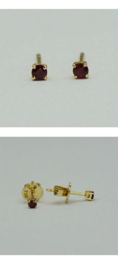 Cercei din aur galben 18k cu rubine