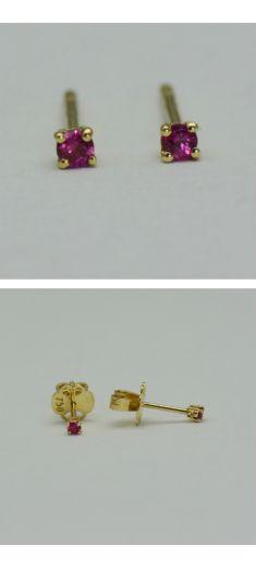 Cercei din aur galben cu rubine rotunde