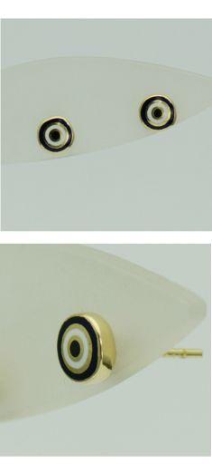 Cercei model cercuri, aur galben 14k cu email