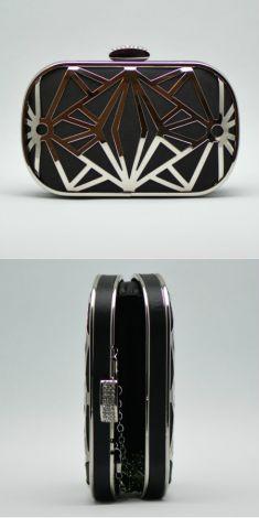 Clutch negru cu model metalic argintiu