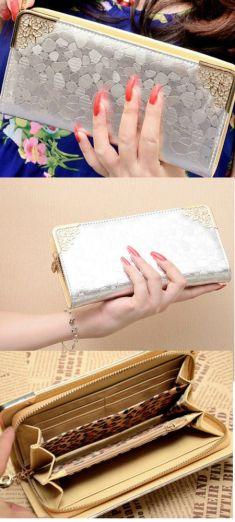 Portofel din piele argintie
