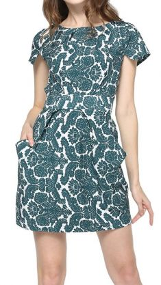 Rochie alba cu imprimeuri verzi