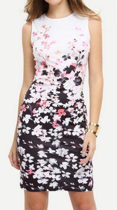 Rochie alba cu negru, flori albe si roz