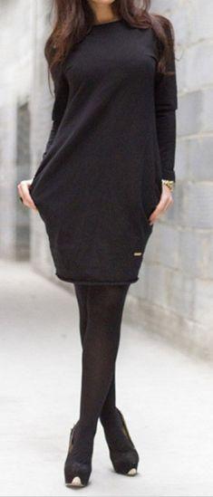 Rochie casual neagra cu buzunare