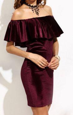 Rochie din catifea grena