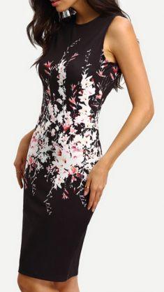 Rochie neagra cu flori albe si roz