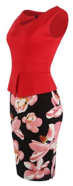 Rochie rosie cu imprimeu floral