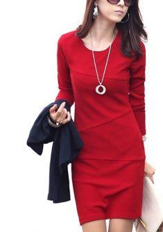 Rochie rosie cu maneca lunga