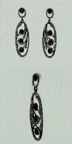 Cercei ovali negri cu strasuri argintii