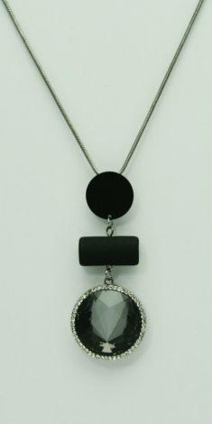 Colier gri metalizat, pandantiv cu cristal negru si strasuri albe