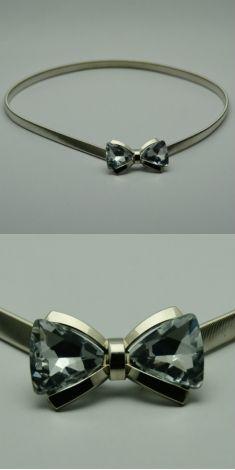 Curea argintie, catarama tip funda cu cristale