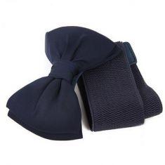 Curea bleumarin elastica cu funda satinata