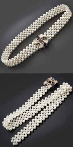 Curea din perle, catarama cu strasuri si cristale
