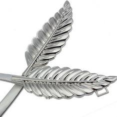 Curea elastica argintie, catarama din doua frunze