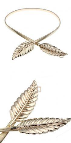 Curea elastica aurie, catarama din doua frunze