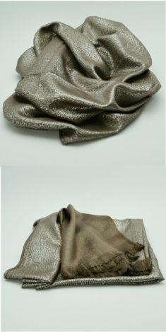 Esarfa maro cu argintiu cu doua fete (maro/argintie)