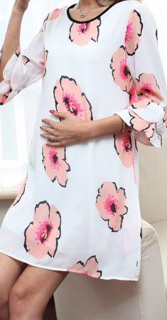 Rochie alba cu flori roz